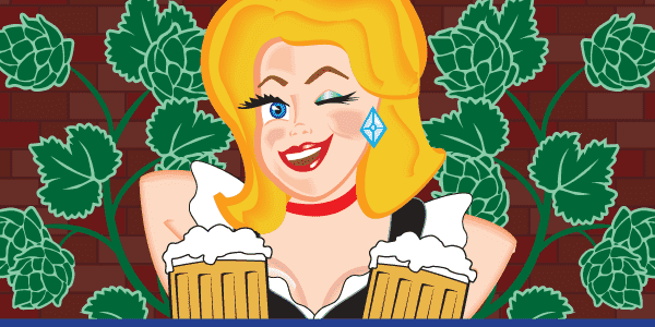 illustration of Mary holding mugs of beer
