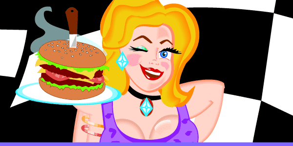 illustration of Mary holding a hamburger on a tray in front of a checkered flag