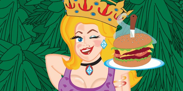 illustration of Mary holding a hamburger on a tray in front of trees