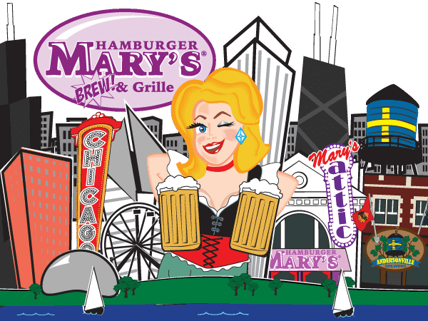 illustration of Mary in front of the Chicago skyline