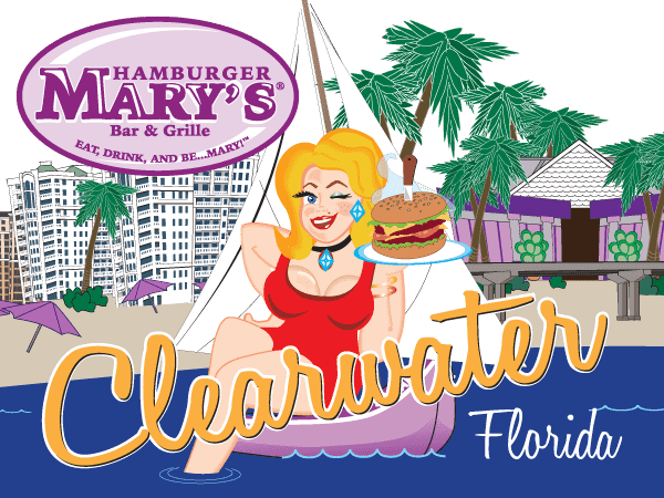 illustration of Mary in front of the Clearwater skyline