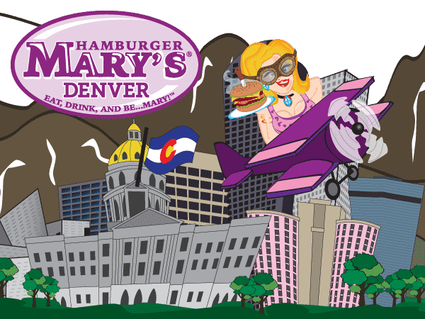 illustration of Mary in front of the Denver skyline