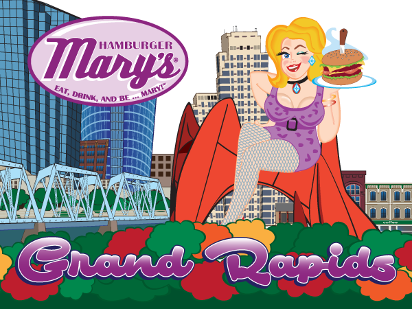 illustration of Mary in front of the Grand Rapids skyline