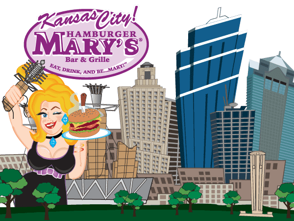 illustration of Mary in front of the Kansas City skyline