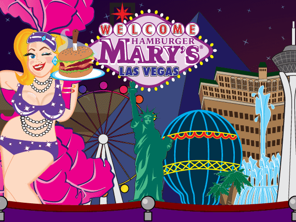 illustration of Mary in front of the Las Vegas skyline
