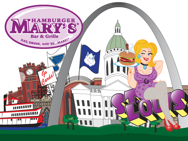 illustration of Mary in front of the St Louis skyline