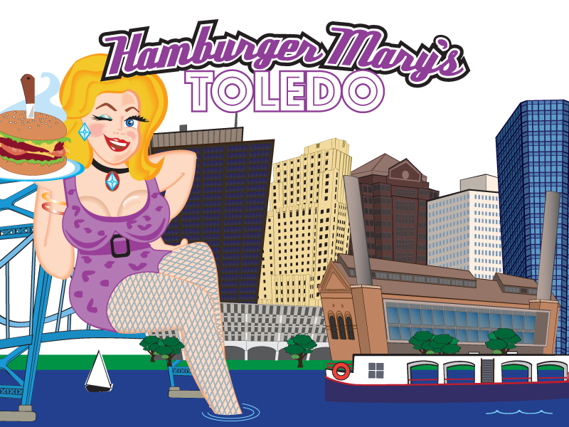 illustration of Mary in front of the Toledo skyline