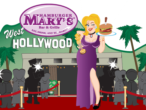 illustration of Mary in front of the West Hollywood skyline