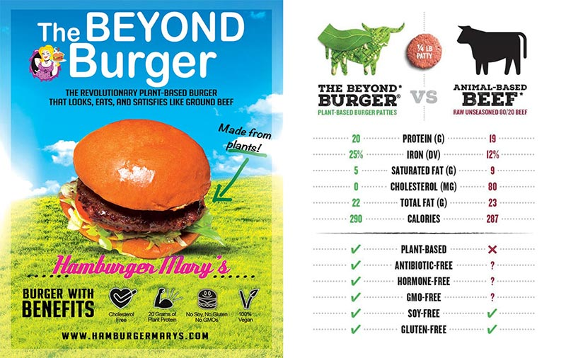 Beyond Burger Veggie Patty Served at Marys